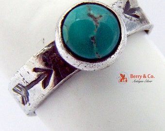 Small Navajo Style Sterling Silver Girls Ring Inset Turquoise