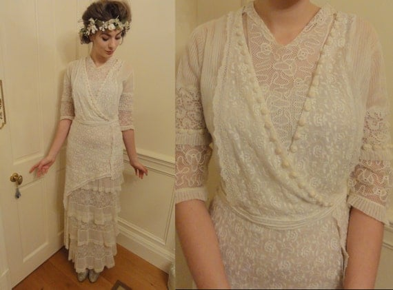 Exceptionally Beautiful Antique Original 1910's Lace Wedding Dress/ Tea Gown