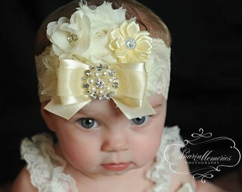 Ivory Headband/Easter Headband/Flower Girl Headband/Infant Headband/Baby Headband/Newborn Headband/Toddler Headband/Girl Headband