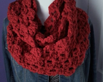 Chunky Crochet Lacy Infinity Scarf-Berry Red/Burgundy-Custom colors available