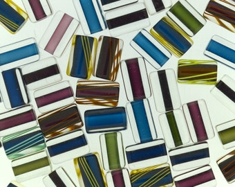 Furnace Glass Beads, Muted Jewel Tones Medium size mix by Virginia Wilson Toccalino, 1 oz