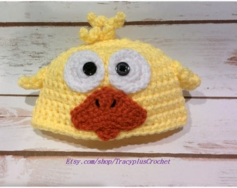 Crochet Duck beanie. Baby Duck hat. Easter Duck Hat. Photo prop. Handmade to order. Newborn to adult sizes.
