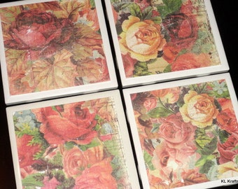 Floral Coasters, Coaster, Coasters, Tile Coaster, Tile Coasters, Ceramic Coasters, Table Coasters, Drink Coasters, Coaster Set of 4
