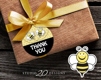 Instant Download Bee Thank You Tags, Bumblebee Printable Gift Tags, Bee Gender Neutral Birthday Baby Shower Thank You Favor Tags 36A