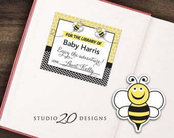 Instant Download Bee Bookplate, Yellow Bee Book Label, Gender Neutral Honey Bee Book Plate, For the Library of Book Label 36A