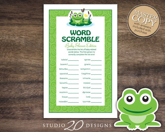 Instant Download Frog Baby Word Scramble Game Gender Neutral