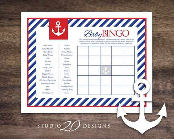 instant download anchor baby shower bingo cards printable sailor