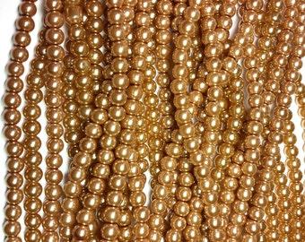 Golden Sand round glass pearls - 6mm