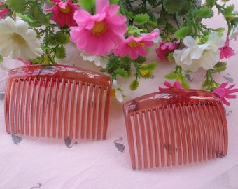 SALE--20 pcs coffee transparent plastic Hair Combs (19 teeth) 66mmx45mm