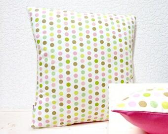 "Handmade 16""x16"" Peony & Jasmine Green Polka Dots Design Fabric Cotton Cushion Pillow Cover"
