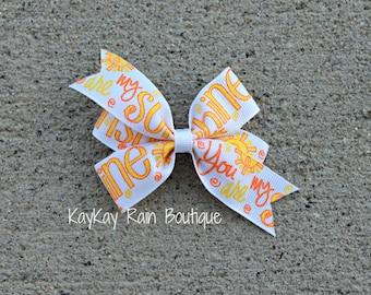Sunshine Hair Bow - You Are My Sunshine Hair Bow - Girls Hair Bow - Summer Hair Bow - Sunshine - 3 Inch Hair Bow - Sun Hair Bow - Summer