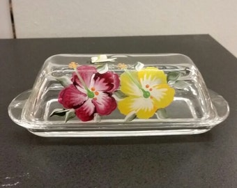 Hand-painted Glass Butter Dish