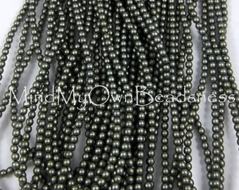 4mm Czech Glass Pearl - 85942 Russian Green Satin x 12pcs