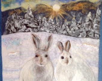 Needle felted picture /wall hanging. Hare.  two snowshoe hares.