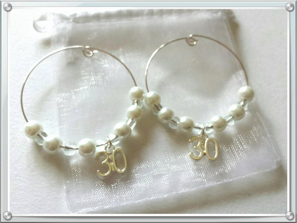 Pearl Wedding Anniversary Gift Ideas: 30th Wedding Anniversary Wine Charms X 2 In Gift Bag Pearl