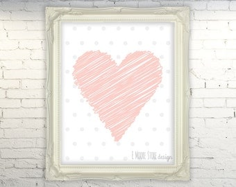 50% OFF Baby Pink Heart with Gray Polka Dots- Baby Girl Nursery Art - Blush Pink Heart Wall Art - Pink and Gray Artwork Print