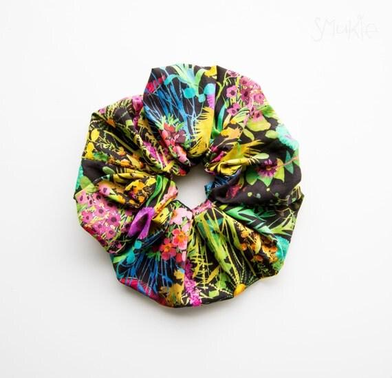 MIDSUMMER DREAM. NIGHT. Large Scrunchy or Scrunchie. Bright Hair Scrunchies. Women Hair Accessories, Retro Accessory