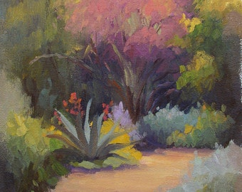 "Plein Air, Garden Painting, Impressionist, ""Spring Reawakening"", original oil painting, 12""x9"" by Sherri Aldawood, wildflowers,  nature"