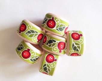 Wooden Napkin Rings Pomegranates, Set of 6, Hand Painted Napkin Rings, Green Wooden Napkin Rings, Napkin Holders, Easter table decor