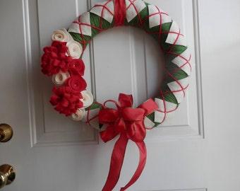 Argyle Yarn Christmas Wreath