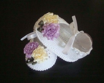 Crochet Baby Girl Shoes- Ballet Slippers -Satin Flowers Shoes. READY TO SHIP!