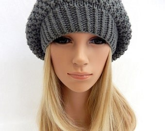 Knit Hat Slouchy Beret Beanie Handmade...Pewter Gray  (Ready to Ship)