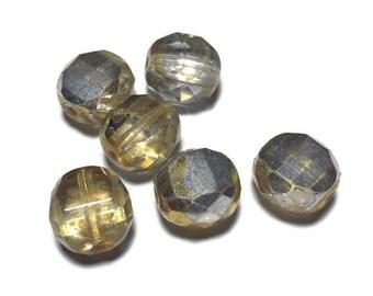 Faceted Silver Gold Czech Beads 10mm 6pcs