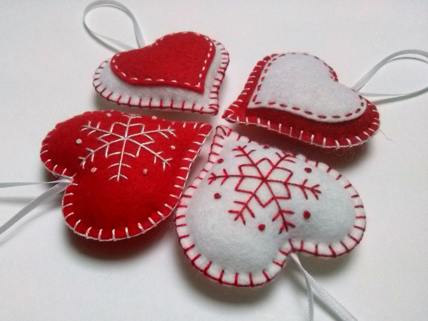 Felt christmas heart ornaments red and white snowflake