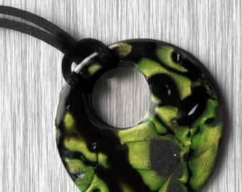Mokume Gane Polymer Clay Cutout Pendant in Green