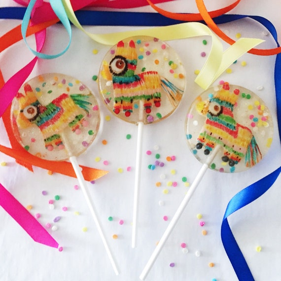 3 Mexican Chocolate Flavored Hand Painted Marzipan Pinata Cinco de Mayo Birthday Wedding Party Favors Lollipops
