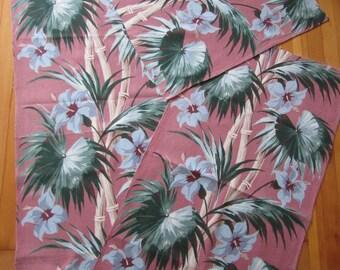 vintage cotton barkcloth / 3 remnant pieces / tropical design