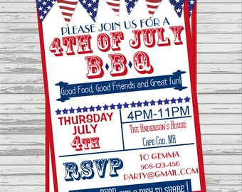 4th of July BBQ Invite - Vintage Look.