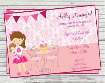 Doll Themed DIGITAL Birthday Invitation.