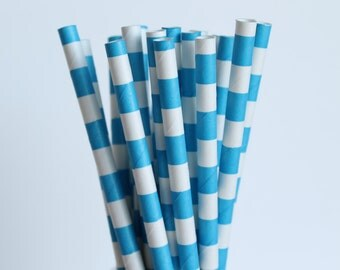 Blue Striped Paper Straws-Rugby Horizontal Striped Straws-Bright Blue Straws-Mason Jar Straws-Wedding Straws-Party Straws-Striped Straws
