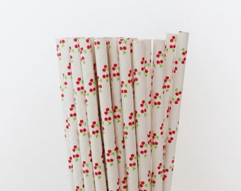 Cherry Paper Straws-Cherries Straws-Party Straws-Mason Jar Straws-Shower Straws-Mason Jar Straws-Wedding Straws-Cake Pop Sticks-Paper Straws