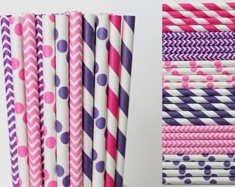 Pink and Purple Paper Straw Mix-Pink Straws-Purple Straws-Polka Dot Straws-Striped Straws-Chevron Straws-Party Straws-Shower Straws