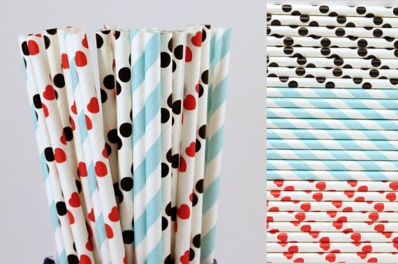 Alice in Wonderland Paper Straw Mix-Red Heart-Black Polka Dot-Light Blue Striped-Birthday Party Paper Straw-Tea Party Straws-Queen of Hearts