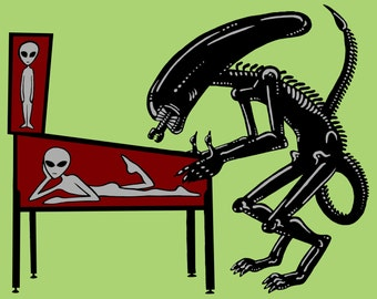 Alien Playing Pinball Screen Printed Poster