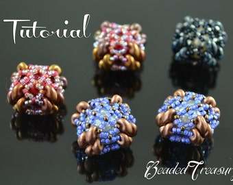 "Beaded bead tutorial, superduo pattern, beaded bead pattern,  seed beads pattern. ""Beaded Square Bead"". TUTORIAL ONLY"