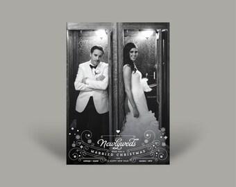 PRINTED Photo Christmas Invitation Card - Newlywed's First Christmas - Newlyweds