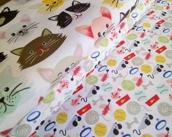 """0,5 m Printed  cotton fabric """"Crazy Cats I"""" 110 cm width red black"""