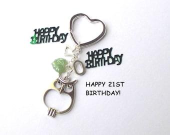 21st birthday gift - Personalised owl keychain - 21st gift for sister, friend, cousin - Custom 21st birthday keychain - owl keyring - UK