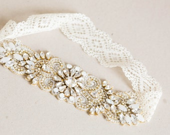 Ivory lace and gold opal bridal garter set  - Style garter R21 (Made to Order)