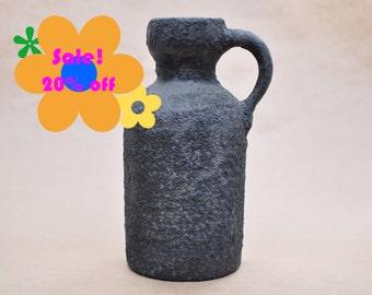 SALE! Marei Fat, Fat Lava vase - West German pottery - Black Lava Floor Vase - vintage 1970s vase