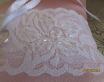 Pink Satin ring bearers pillow or ring pillow with lace and glass beads pink wedding