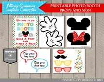 INSTANT DOWNLOAD Mouse Clubhouse Printable Photo Booth Props and Party Sign / Editable Text Bubble / Clubhouse Collection / Item #1632