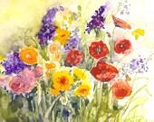 "ACEO Original Watercolor ""Country Garden"""