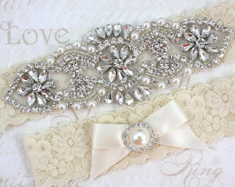 Grace - Pearl Garter Set, Wedding Stretch Lace Garter, Rhinestone Crystal Bridal Garters, Keepsake And Toss Garter