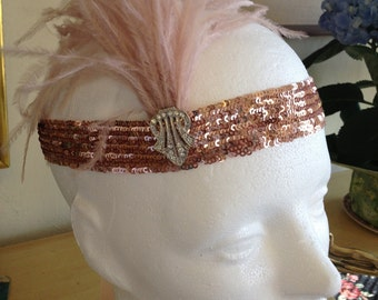 Gatsby Headpiece, Champagne Headband,  Hair Accessories, Champagne Ostrich Feather,  Blush Champagne Sequins Fascinator Rose gold