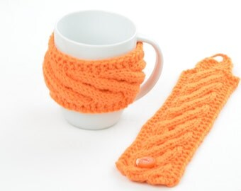 Cup cozy, coffee cup cozy, orange, knitted, handmade, merino wool